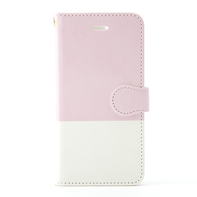 名入れ可能! 手帳型スマホケース(ピンク・ホワイト)
