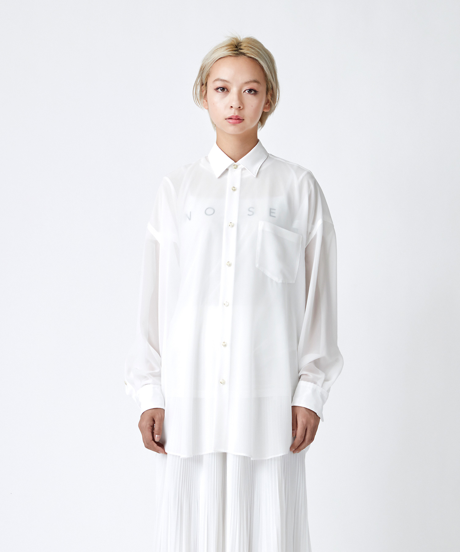 シフォンBIGシャツ(オフホワイト)