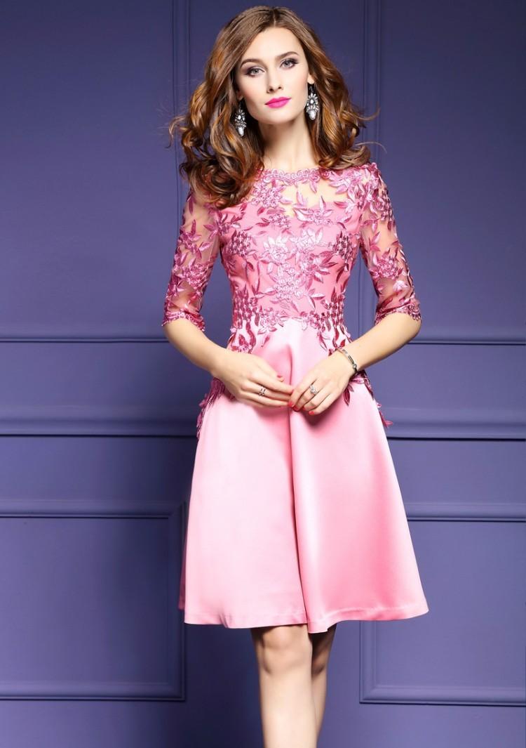 パーティードレス フォーマルワンピース ミニ丈 七分袖 花柄 刺繍 シースルー ピンク