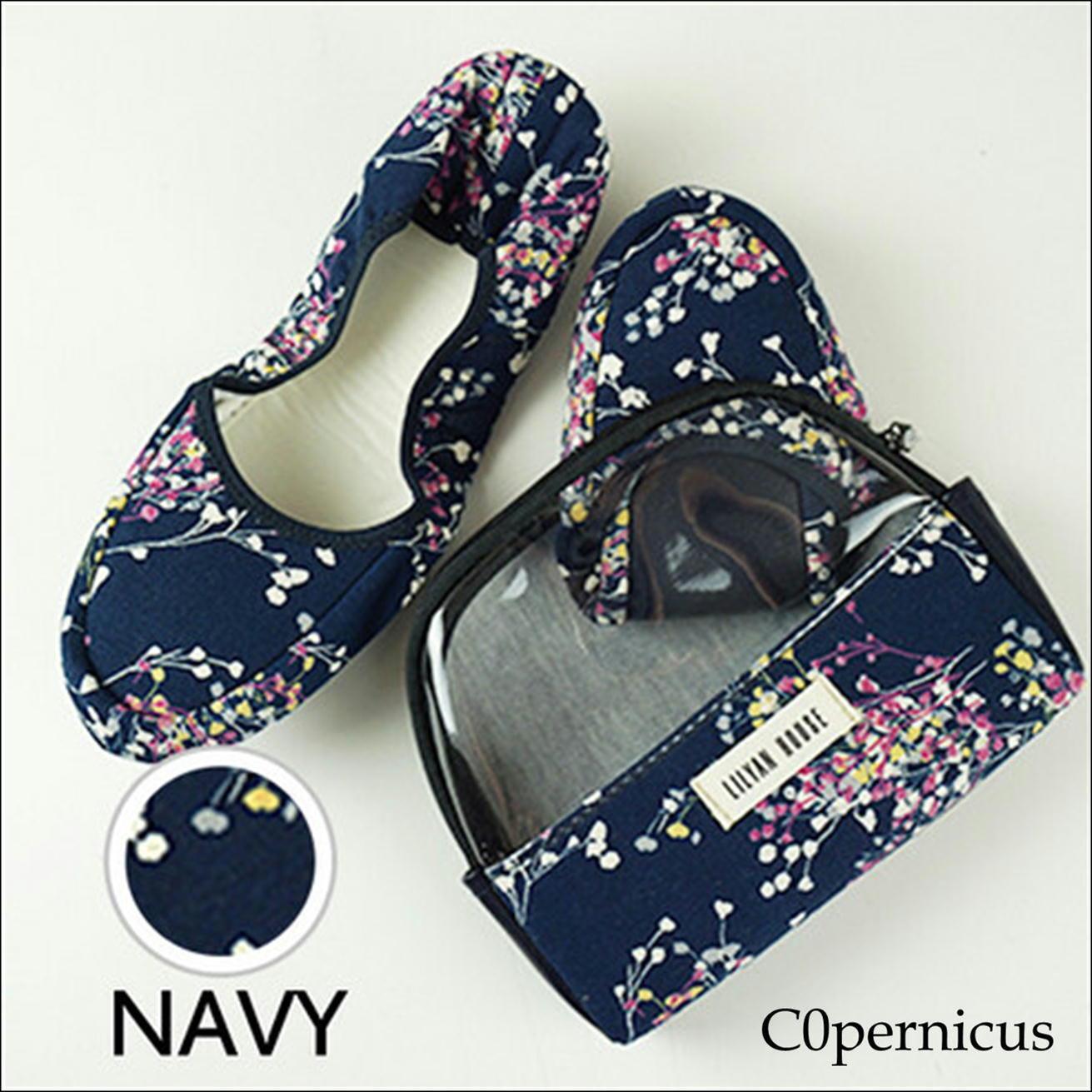 携帯スリッパ ポーチ付き 【Navy A】/ルームスリッパ/ルームシューズ 浜松雑貨屋 C0pernicus