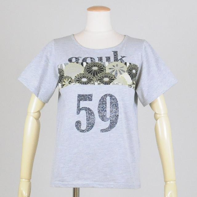 gouk 59和柄切り替えTシャツ GGD25-T005H GY-BK/M