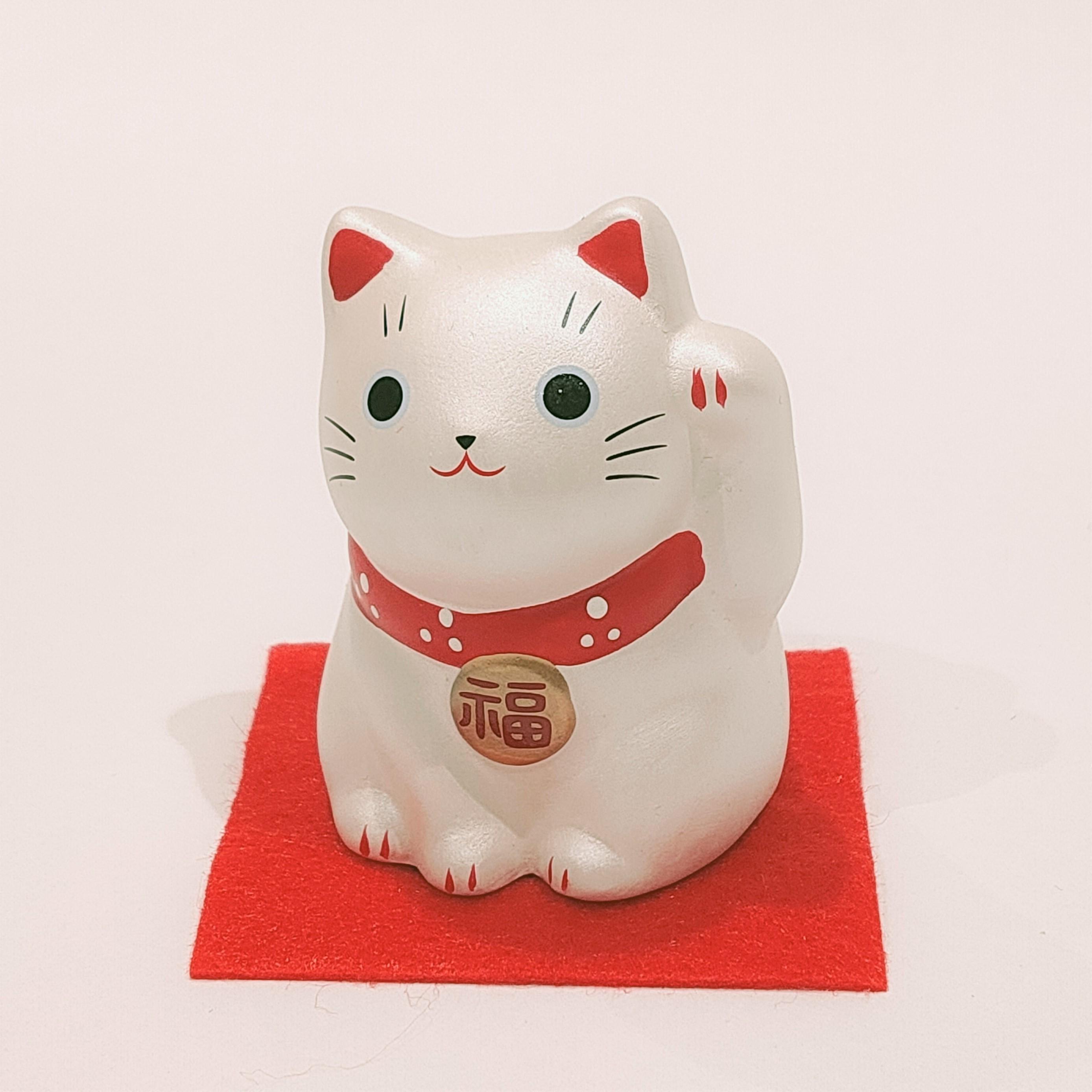 錦彩福おいで招き猫 銀猫 満願成就