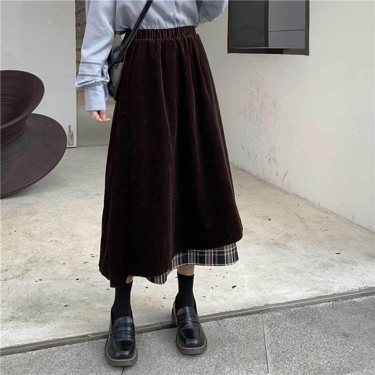 【送料無料】 チェック柄がアクセント♡ レイヤード風 アシンメトリー コーデュロイ ロング スカート