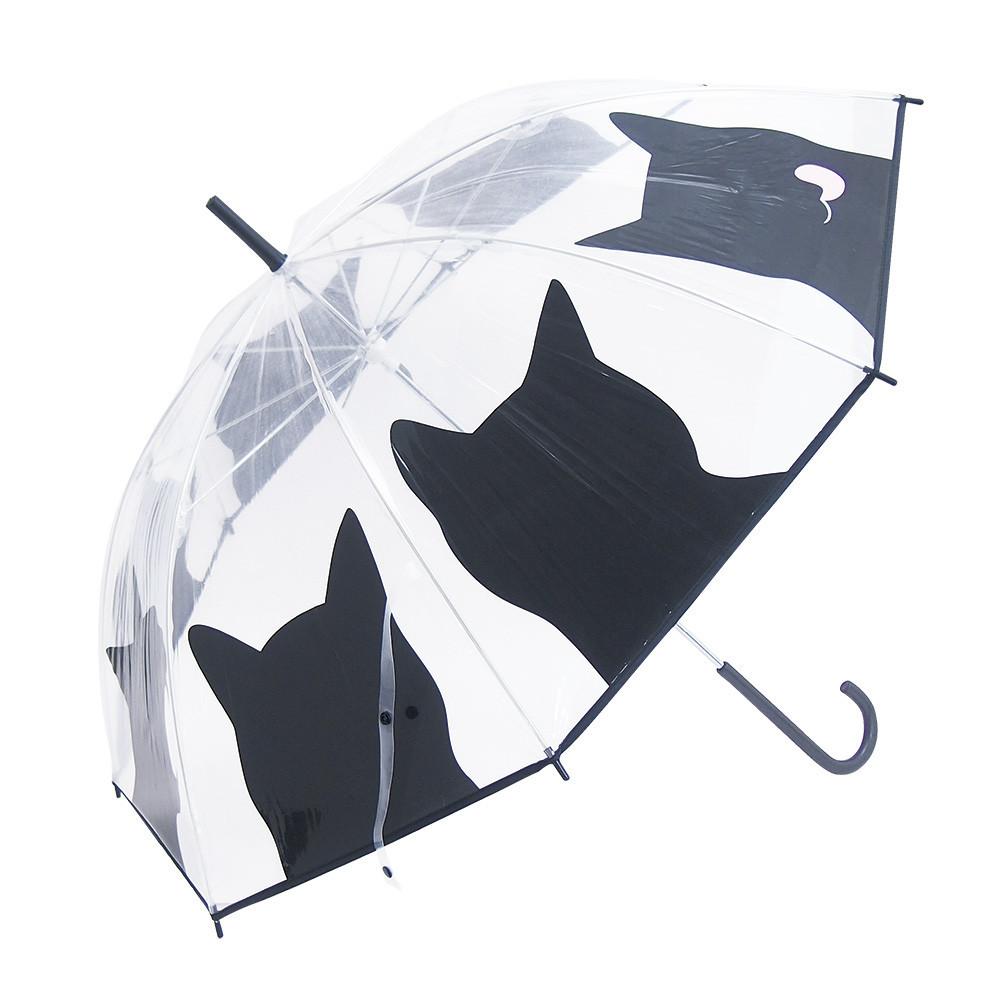 猫傘(ビニール傘黒猫フェイス)