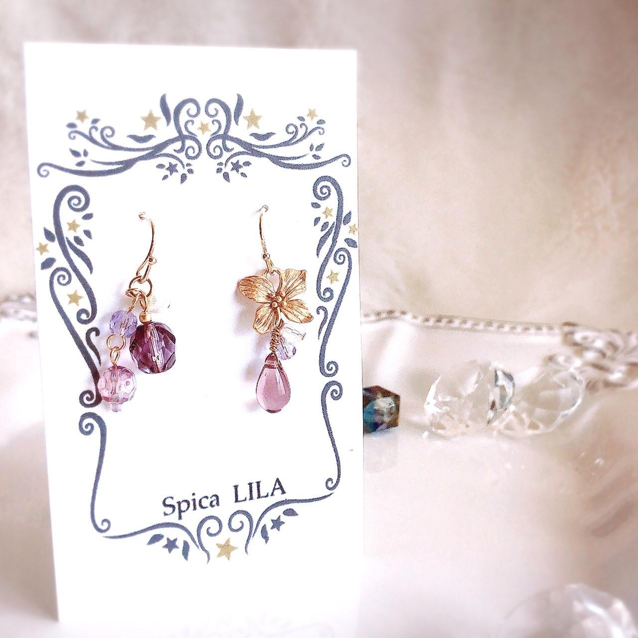 【Spica LILA】花しずくのピアス(パープル)  p1703001