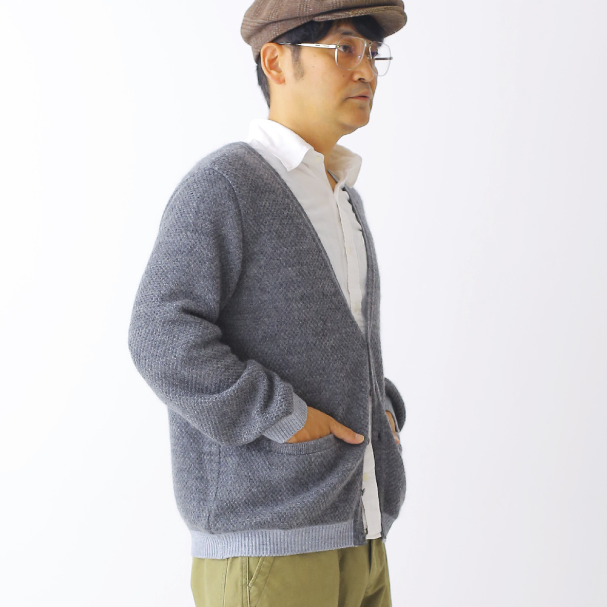 420005_Combination Mohair Cardigan(グレー)