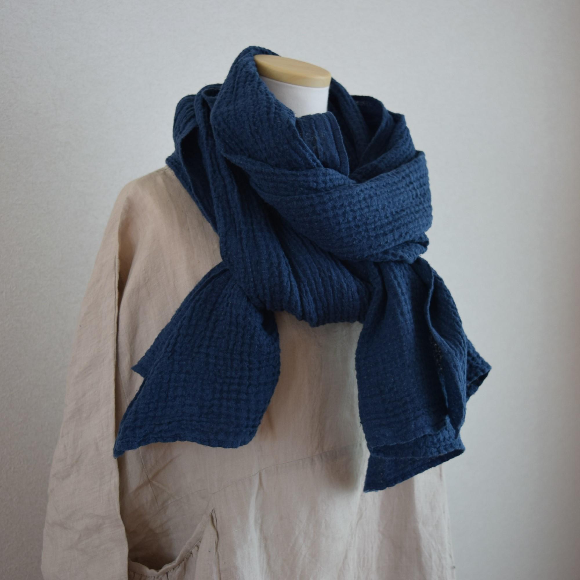 [LINEN TALES]羽織れるリネンのワッフルストール_ネイビー