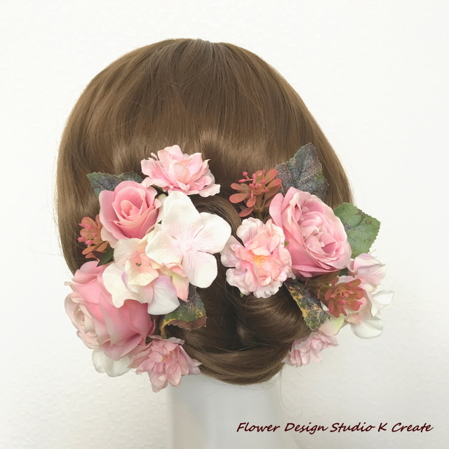 ウェディングに♡ピンクの薔薇のヘッドドレス(17本セット)