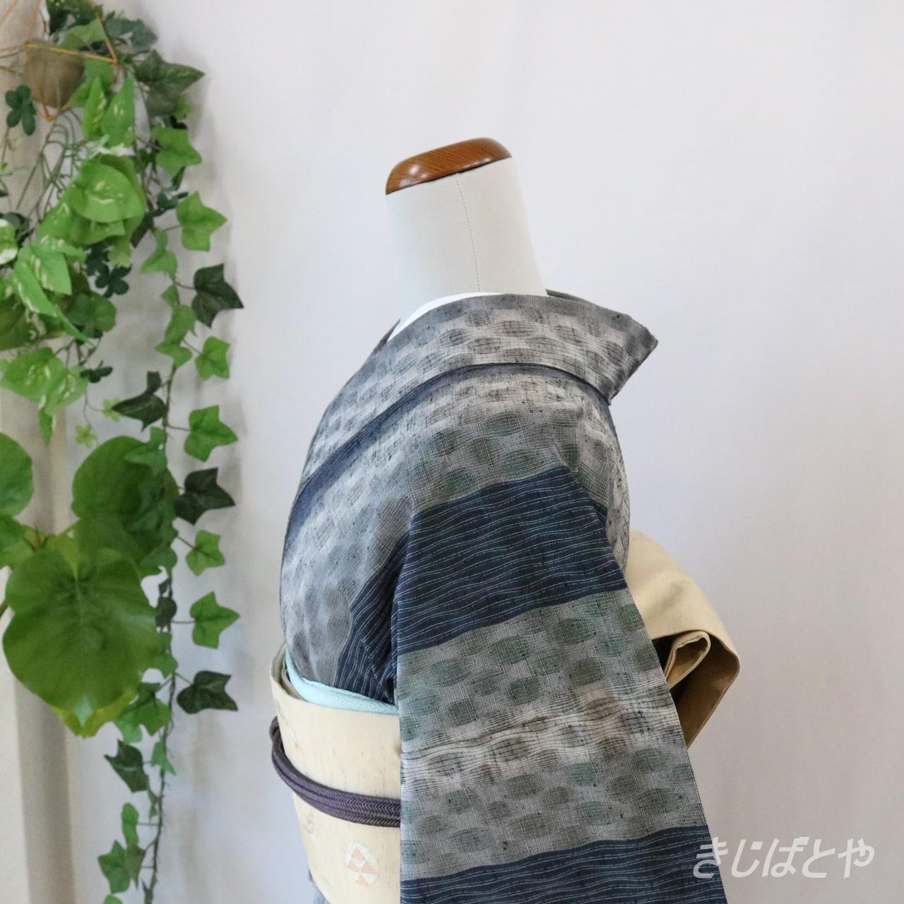 正絹紬 変わり縞の小紋 単衣