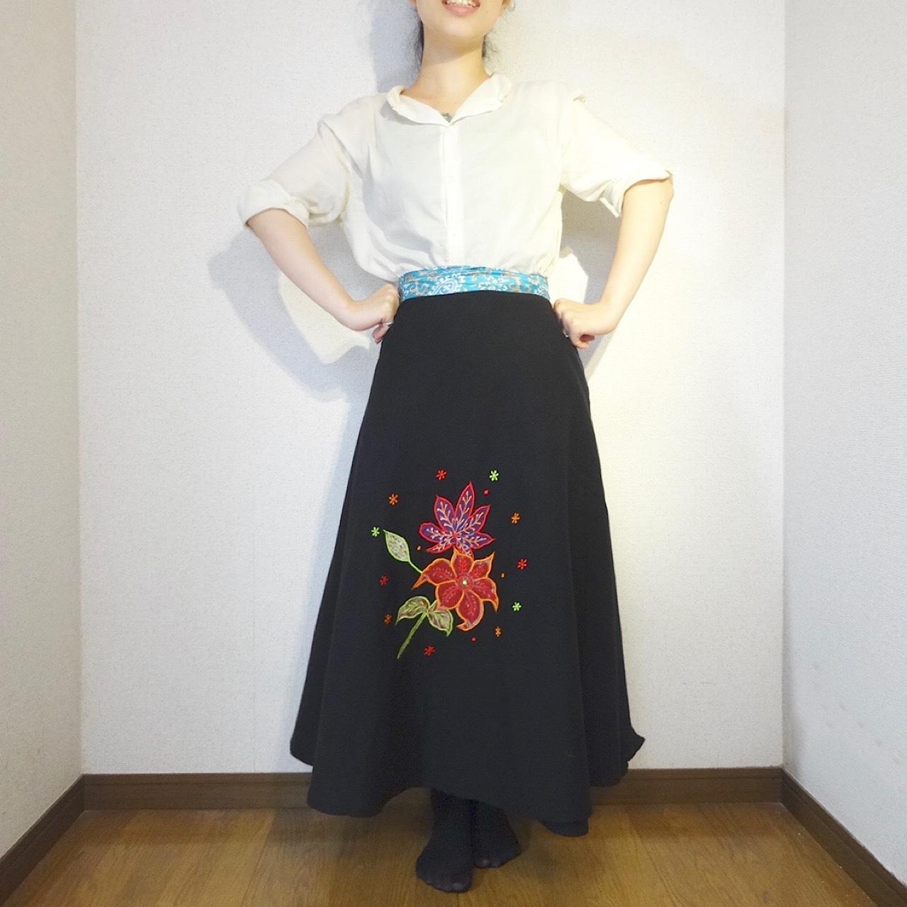 ebwb-004 刺繍コットン・サリー 巻きスカート