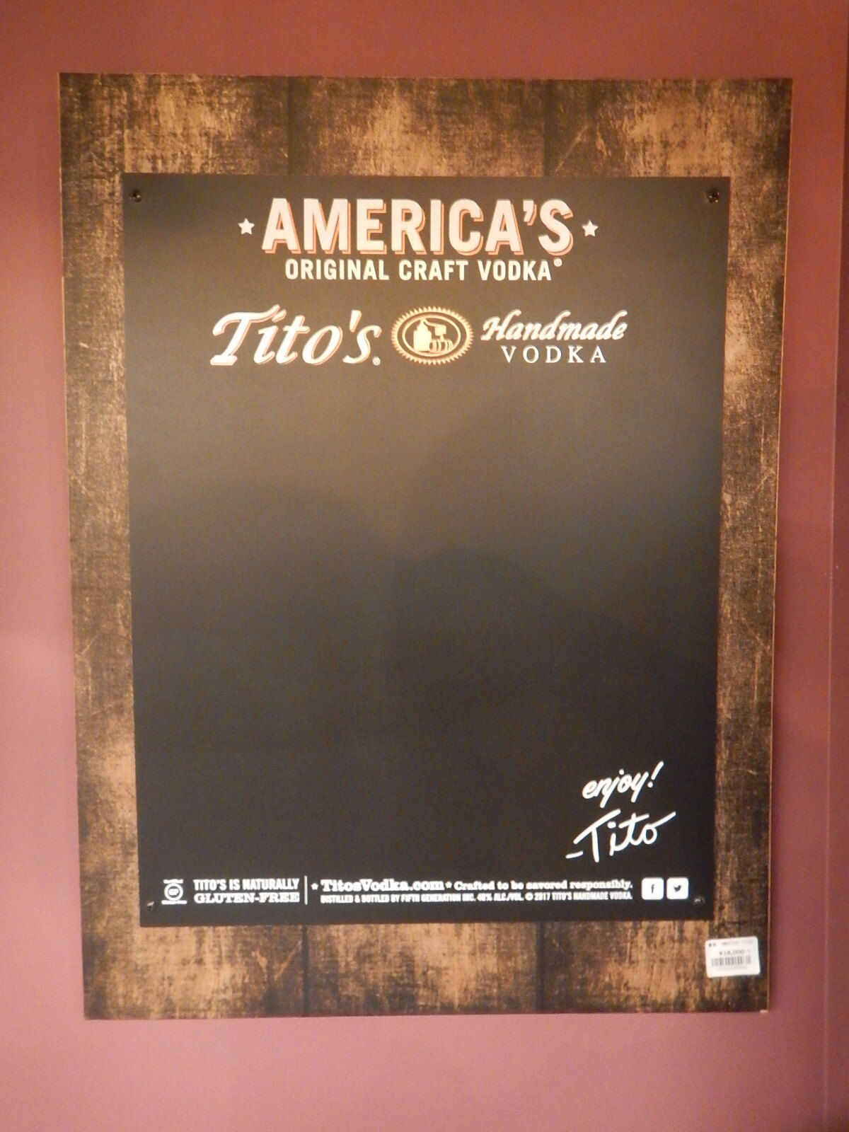 品番0031 看板 AMERICA'S ORIGINAL CRAFT VODKA Tito's Handmade Vodka 011