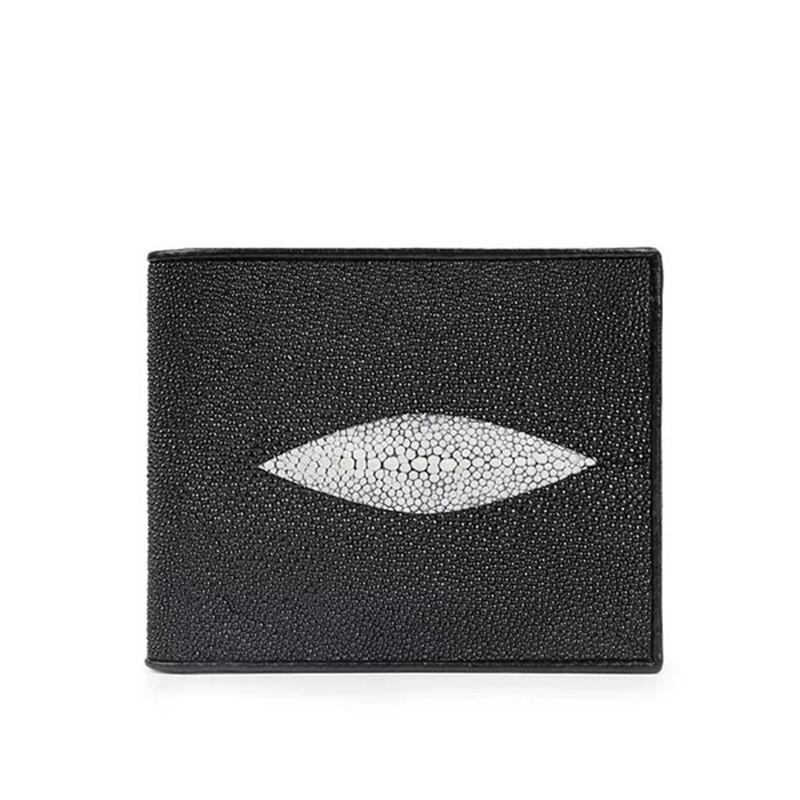 【エイ革財布】ユニセックス 二つ折り財布 カード財布 スティングレイ【金運アップ】