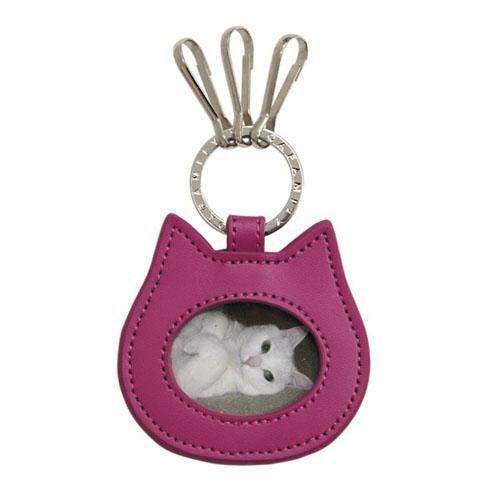 猫フレームキーホルダー チェリーピンク