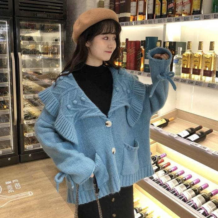 【送料無料】cuteなビッグカラー ♡ ガーリー フェミニン ポンポン付き オーバーサイズ ニット カーディガン トップス