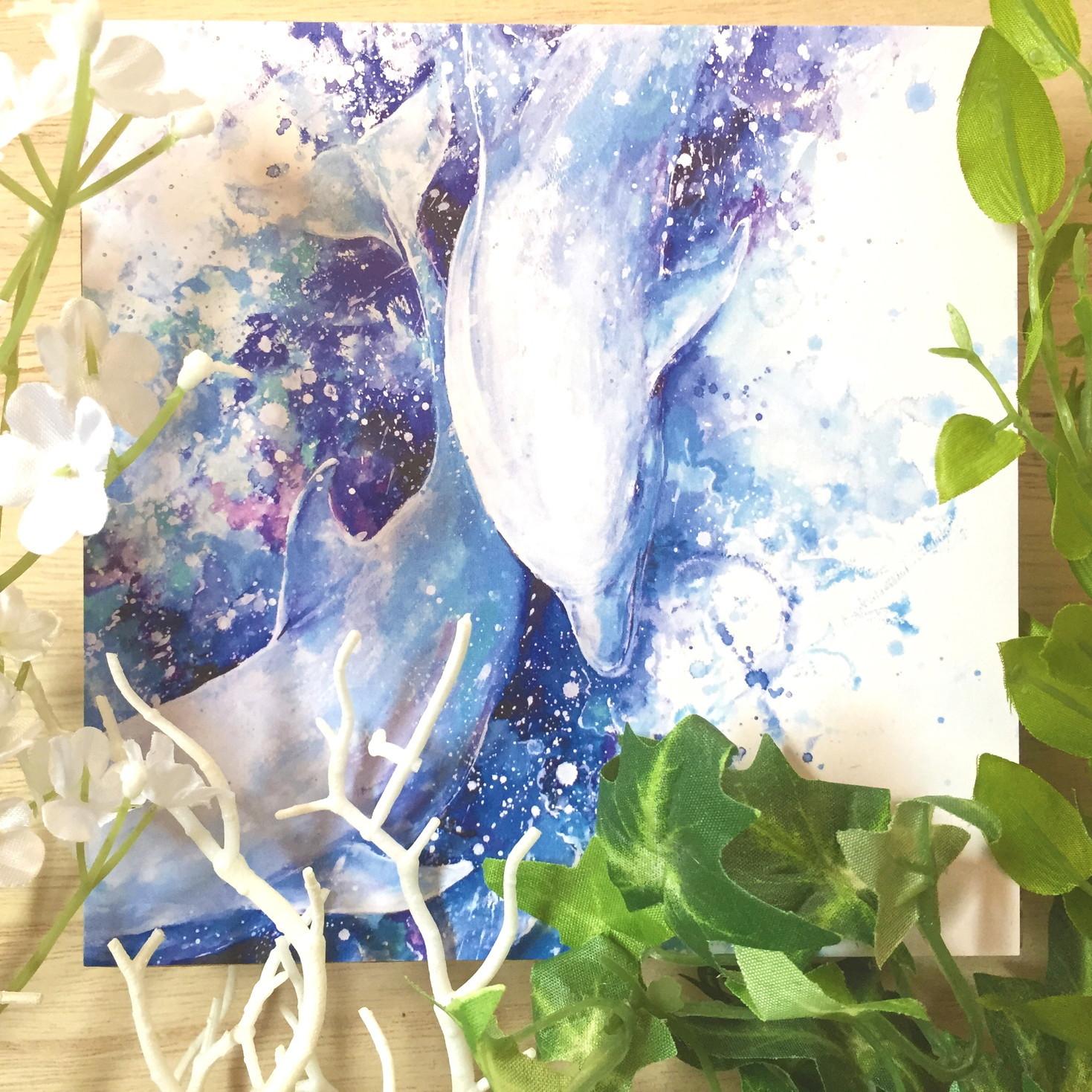 絵画 インテリア アートパネル 雑貨 壁掛け 置物 おしゃれ 水彩画 イルカ 動物 海 ロココロ 画家 : 平田幸大 作品 : 前進