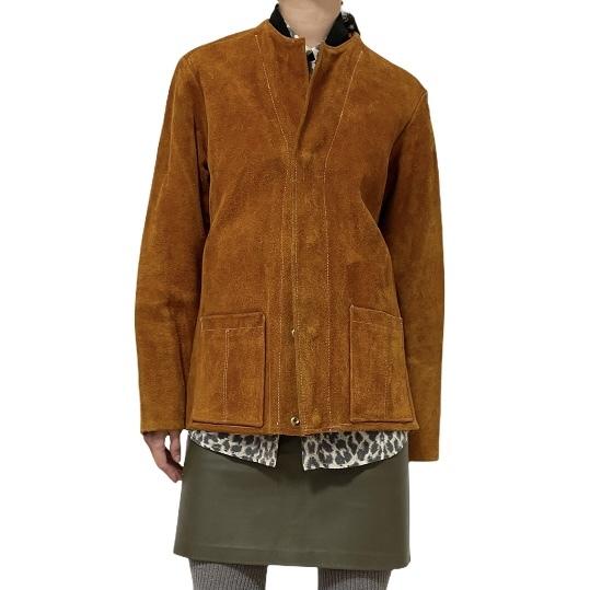 70's Handcrafted Suede No Collar Jacket