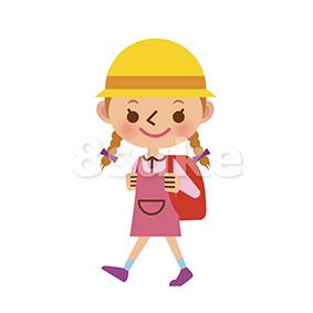 イラスト素材:ランドセルを背負って通学する女の子(ベクター・JPG)