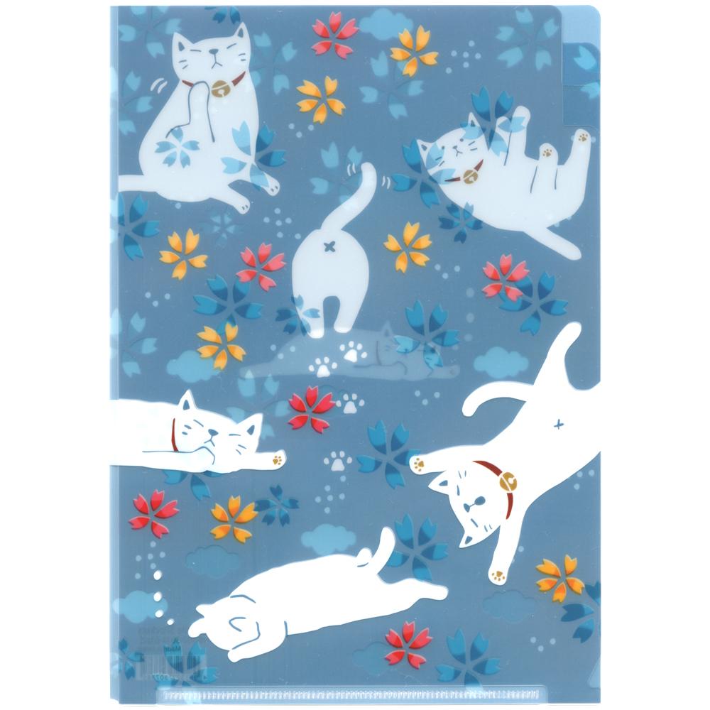 猫クリアファイル(A5ゆる猫)3ポケット構造