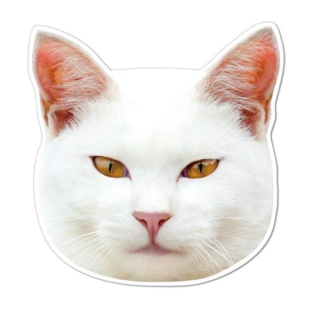 【セール】 (77shiro) ケーマグ 実物大? 白猫 マグネット ステッカー 【レターパックライト可】