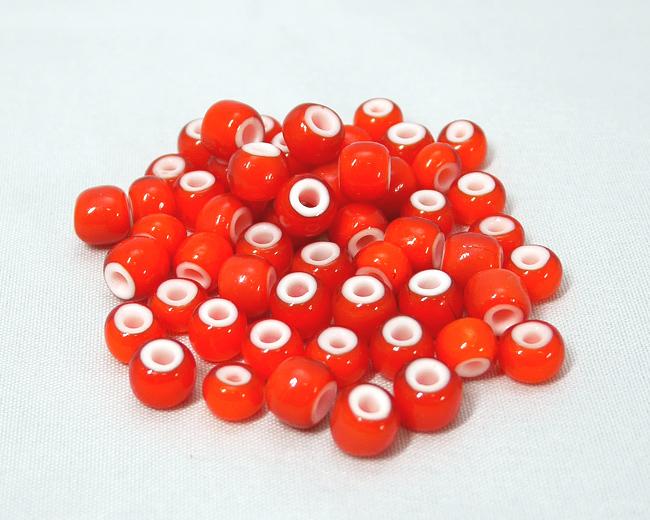ホワイトハーツビーズ オレンジ色 丸7mm H2738WH13901