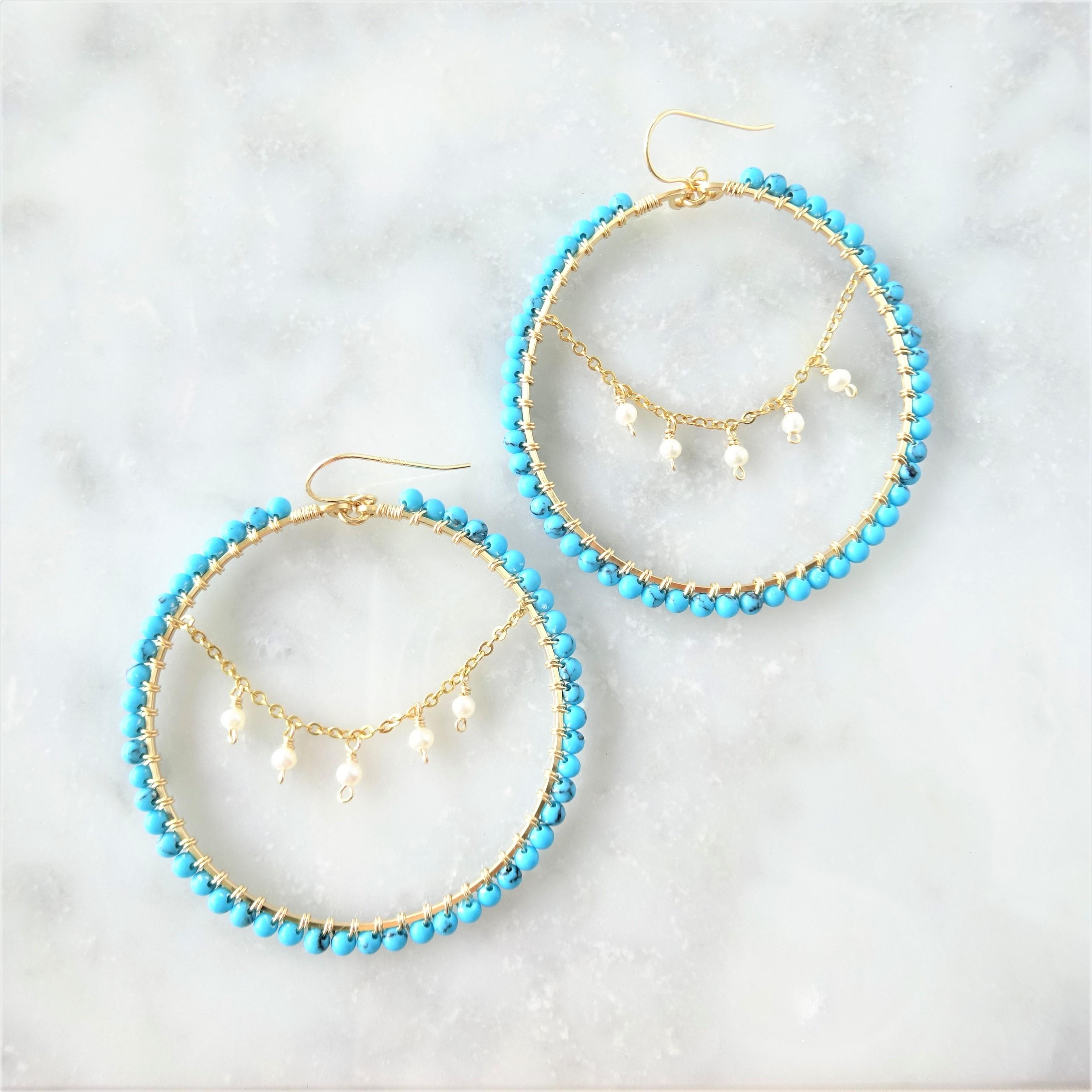 送料無料14kgf Turquoise*freshwater pearl chandelier wrapped pierce / earring