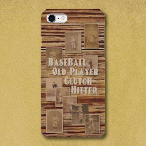 ベースボール・オールドプレイヤー(木目)/ iPhoneスマホケース(ハードケース)