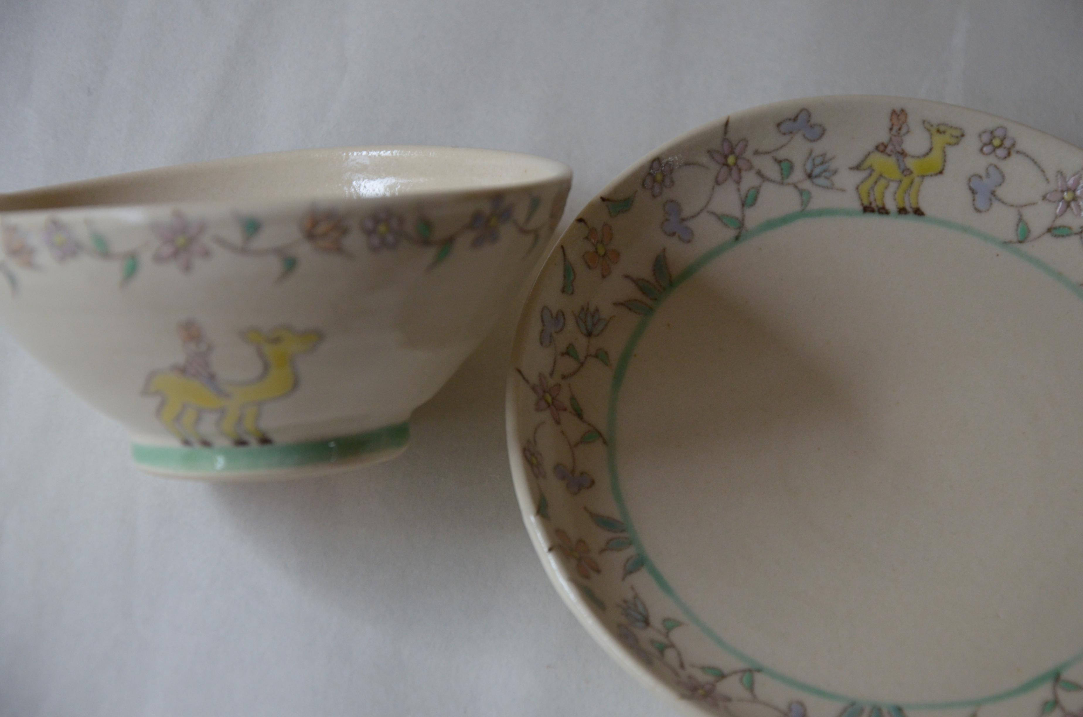 旅するうさちゃん 子ども茶碗.5寸皿
