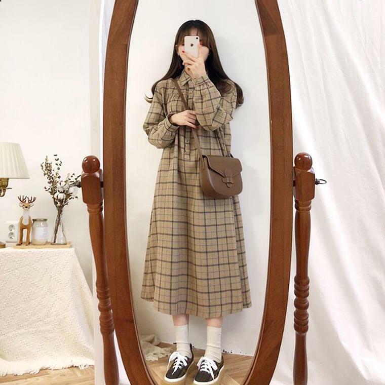 【送料無料】 レトロワンピ♡ 秋カラー チェック ロング ワンピース 襟付き ゆったり カジュアル ガーリー