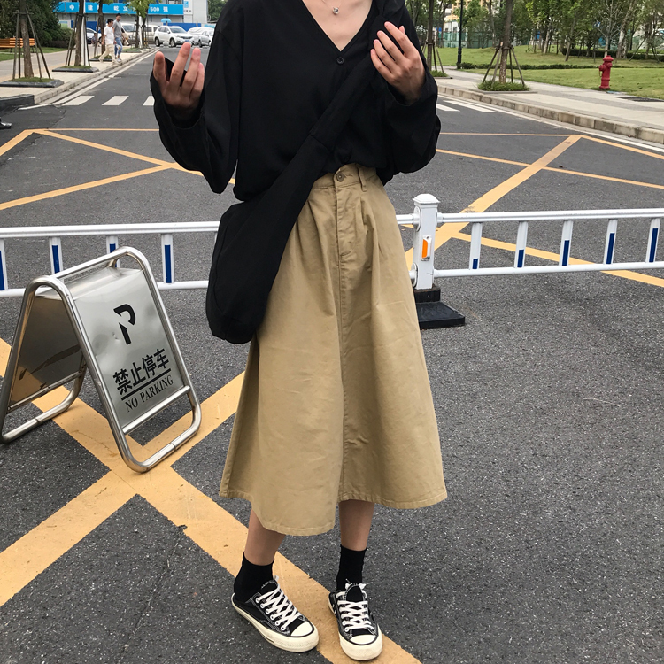 【送料無料】 大人カジュアル♡ ハイウエスト ロング フレア スカート シンプル チノ ふんわり シルエット