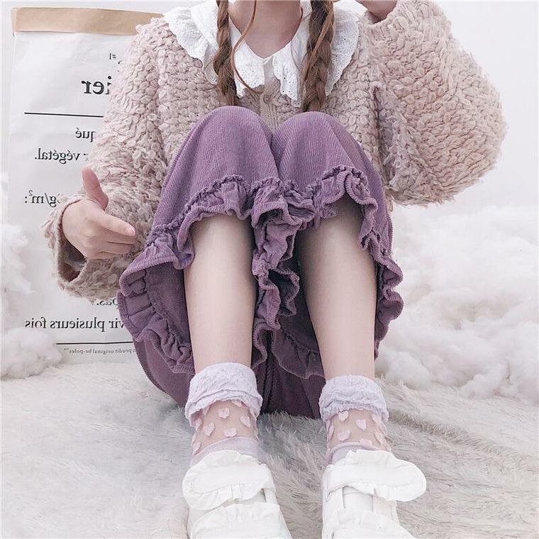 【送料無料】可愛い 裾フリル ♡ ガーリー カジュアル コーデュロイ ワイド パンツ ボトム