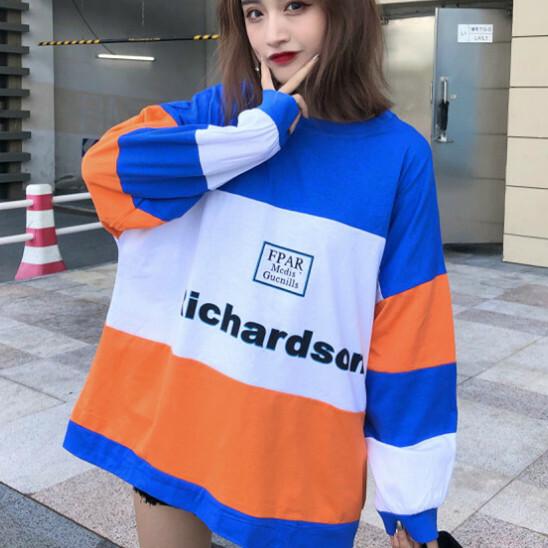 【tops】カジュアルアルファベット配色長袖Tシャツ12949825