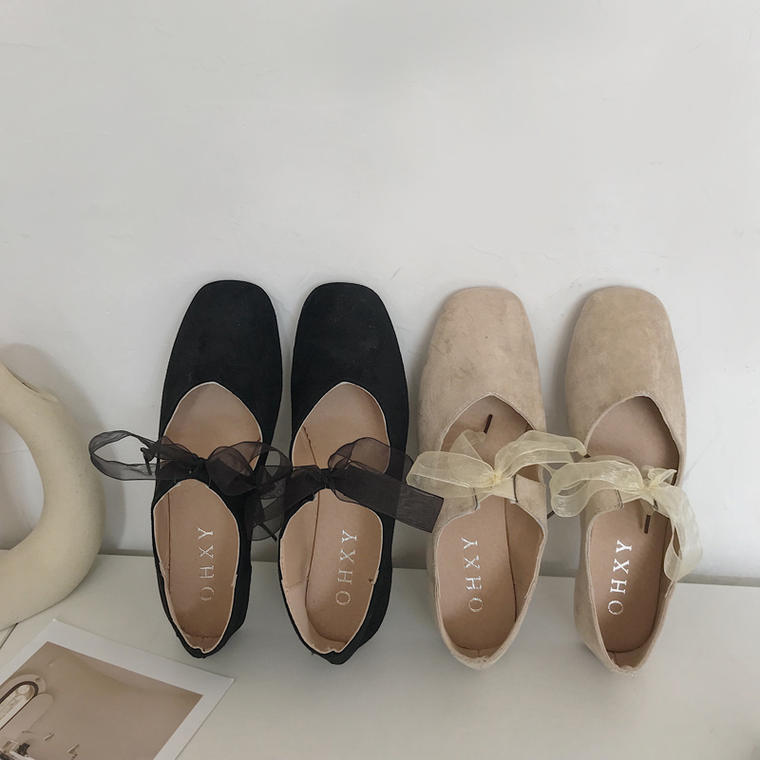 【送料無料】チュールリボンが可愛い ♡ レトロ ガーリー 大人可愛い シフォン ローヒール ペタンコ フラット パンプス シューズ 靴