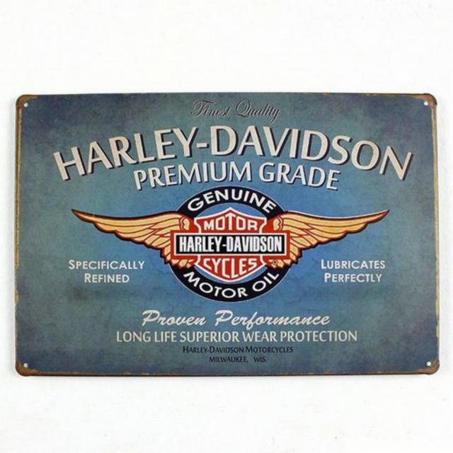 【ブリキ看板】ハーレーダビッドソンエンブレム・ブルー 小型版[A63111]