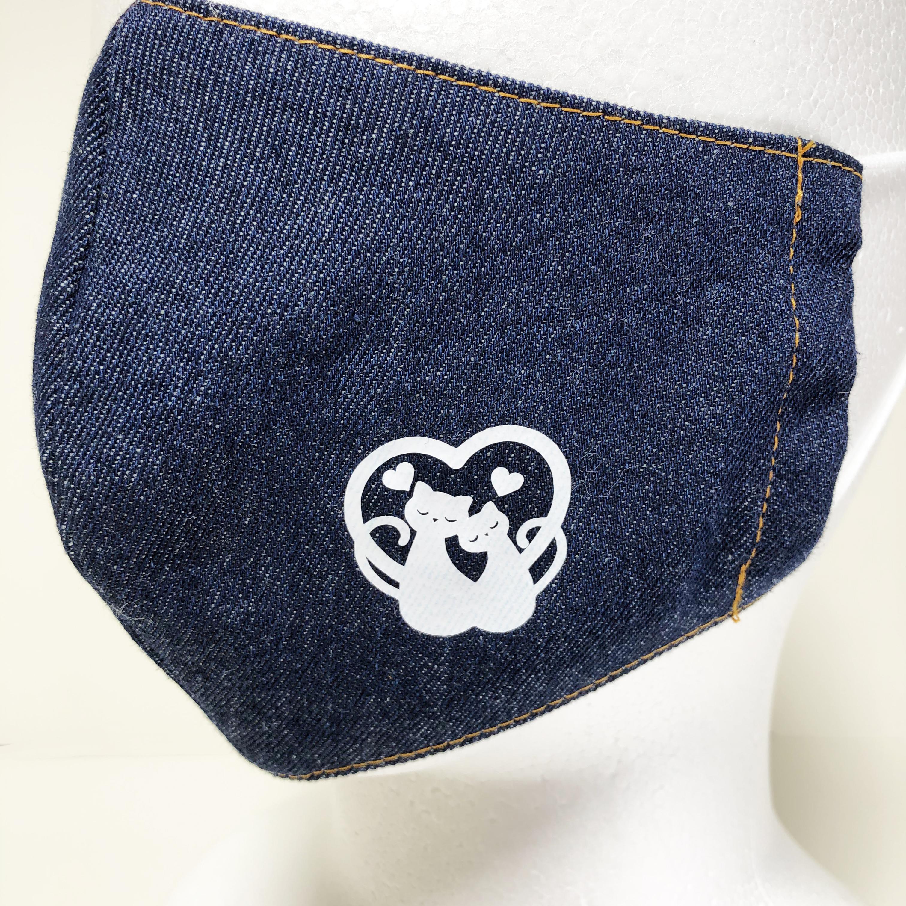 立体マスク 猫 デニム ハート LOVE 布マスク 大人サイズ ゴム紐使用