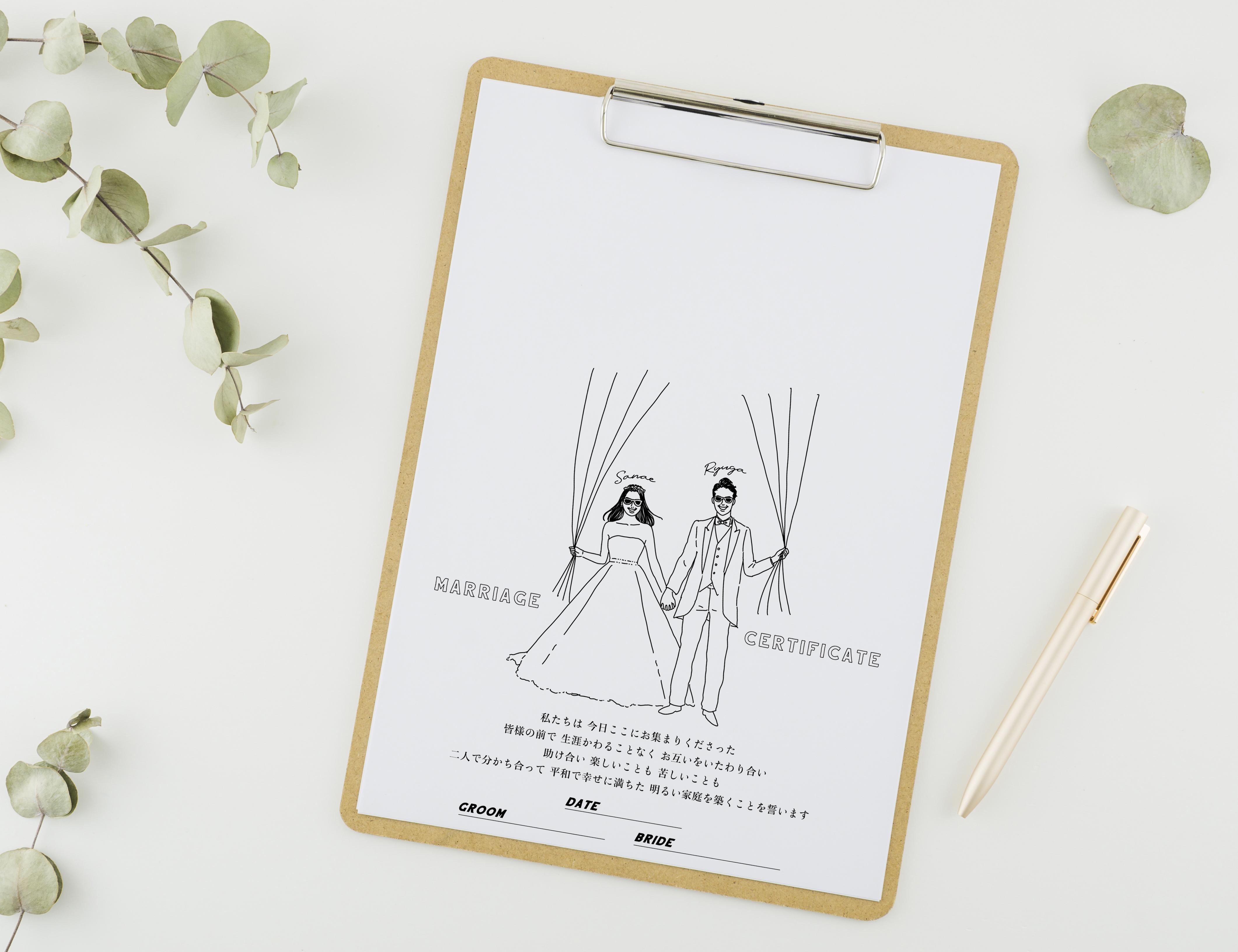 おふたりの似顔絵で作る ゲスト参加型結婚証明書?A │ウェディングツリー ウェディングバルーン