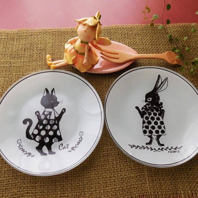(71) フォリアージュアニマル  ガラスプレート 丸皿 猫 うさぎ 食器