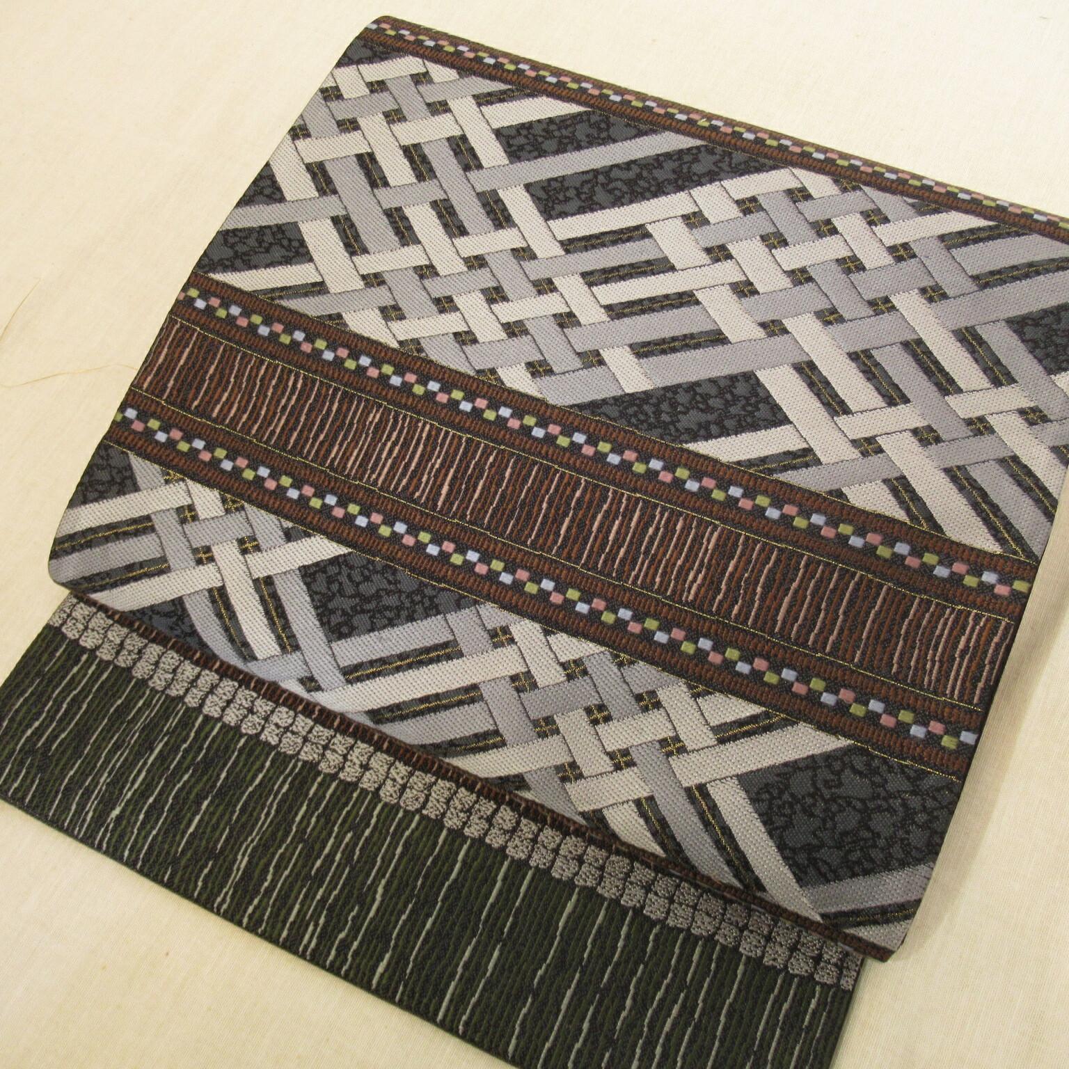 西陣織袋帯 幾何学文様 六通
