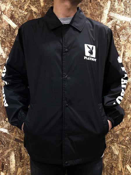 PLAYBOY (プレイボーイ) ロゴプリント コーチジャケット Black (ブラック)
