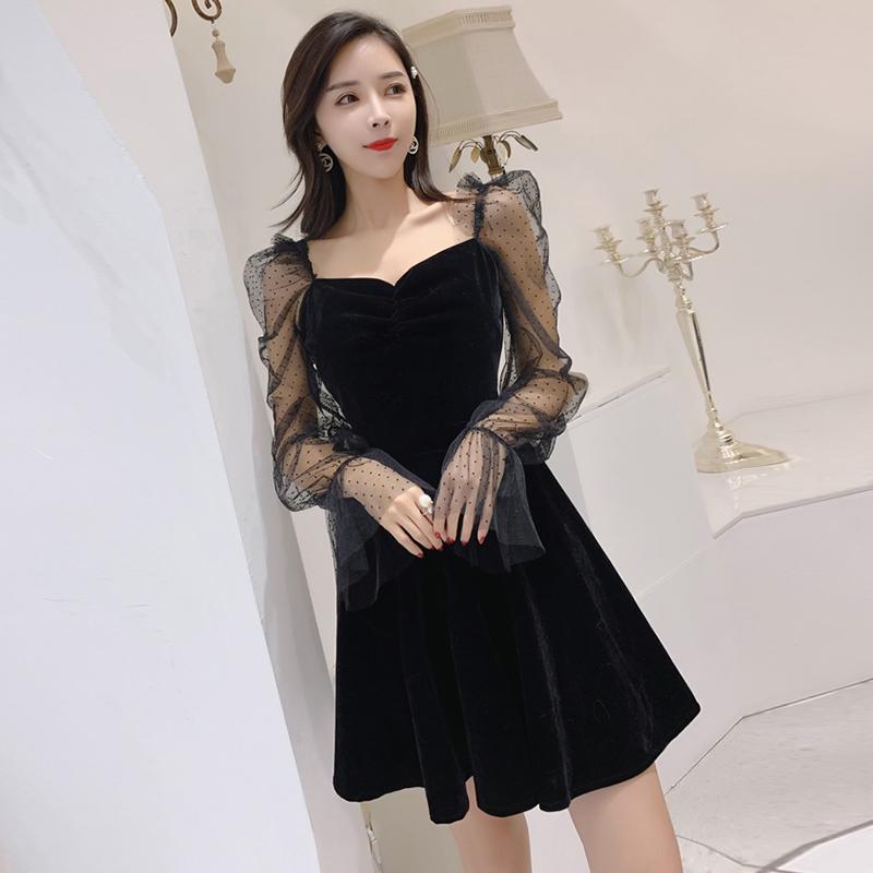【dress】ファッション透かし彫りハイウエストデートワンピース21904510