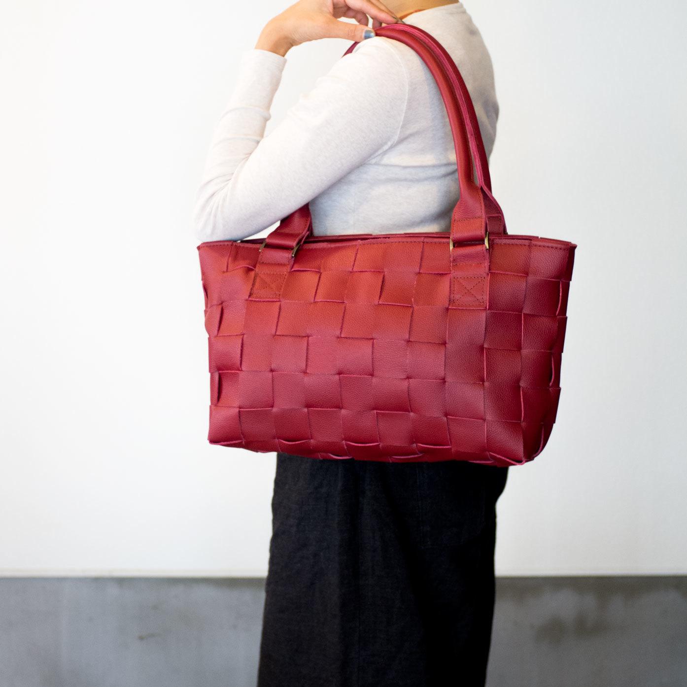 家具用・牛革製 / 編み革、メッシュレザー/レザートートバッグ/ 赤
