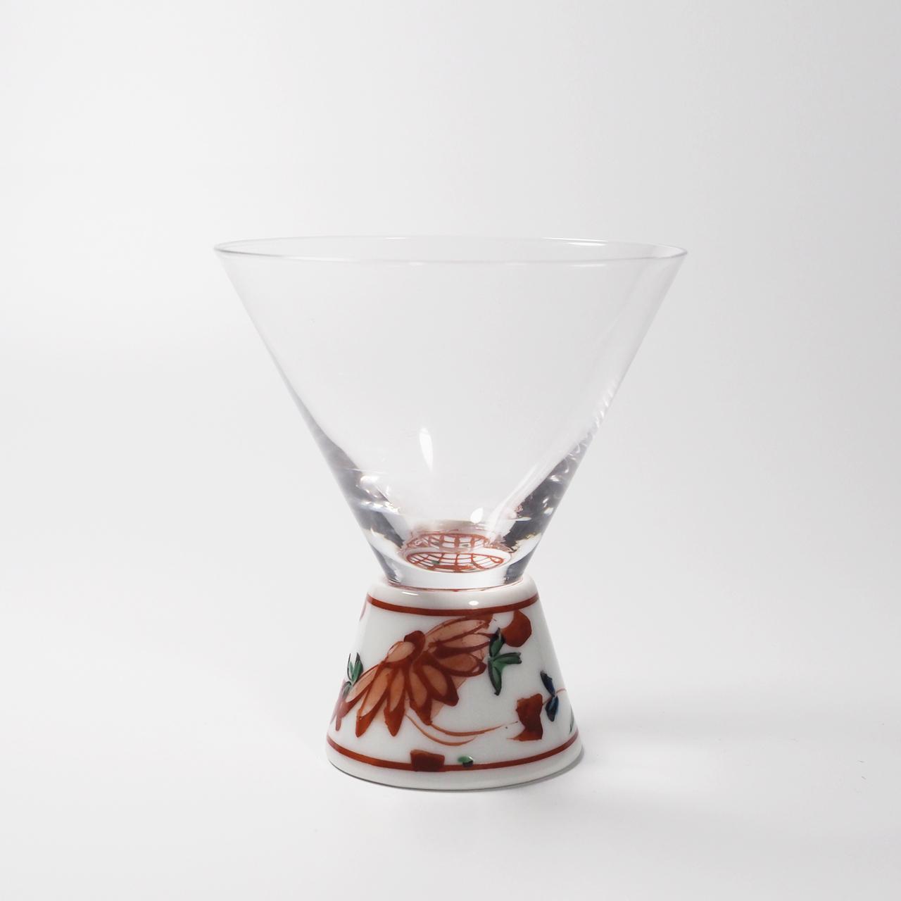 酒グラス(台形) 赤絵錦剣先万歴 20-002-A