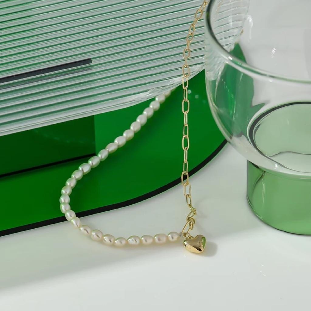 heart perl choker necklace