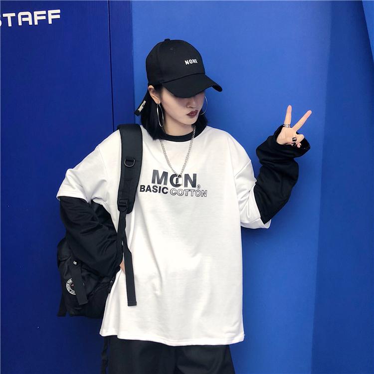 【tops】ファッションアルファベット配色Tシャツ22580162