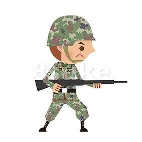 イラスト素材:銃を構える自衛官・軍人(ベクター・JPG)