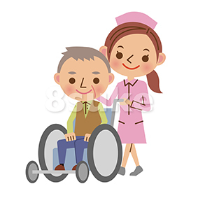 イラスト素材:老人の車いすを押す看護師/ナース(ベクター・JPG)