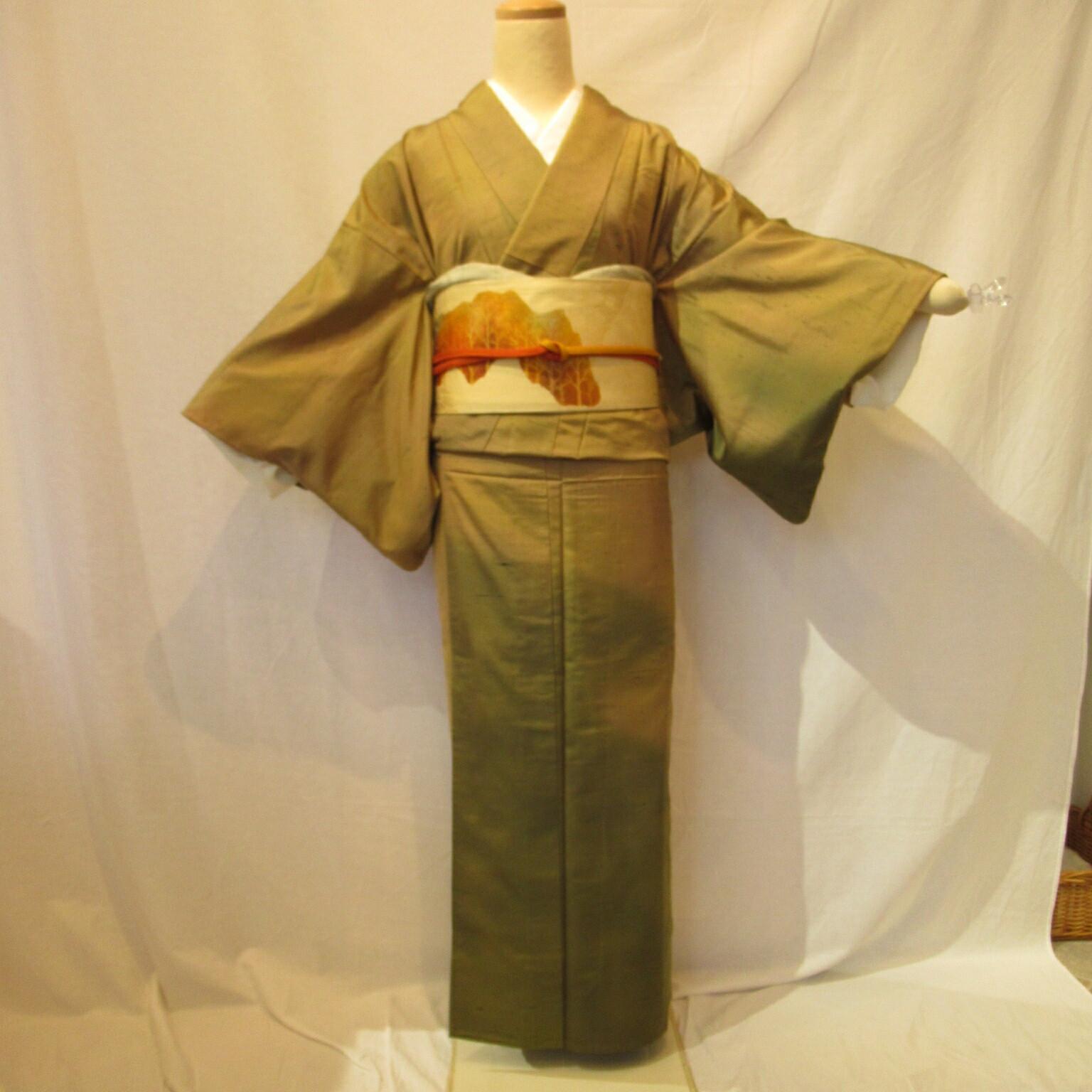 夏用単衣紬小紋1444と名古屋帯4点セット