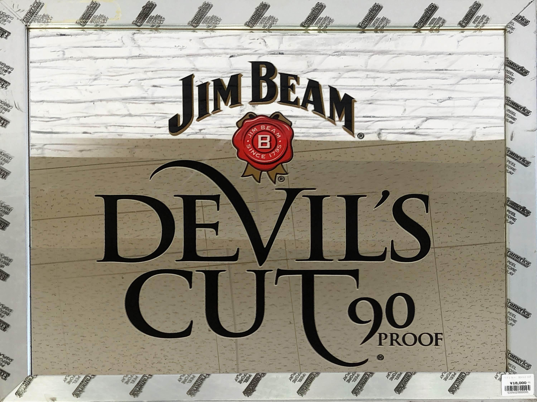 品番0095 パブミラー 『DEVIL'S CUT 90 PROOF(デビルズ カット90プルーフ )』 JIM BEAM 壁掛 ディスプレイ アメリカン雑貨 ヴィンテージ 011