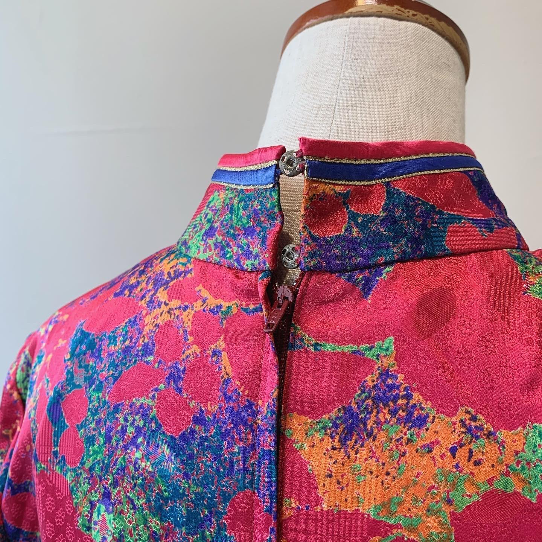 vintage china design silk onepiece