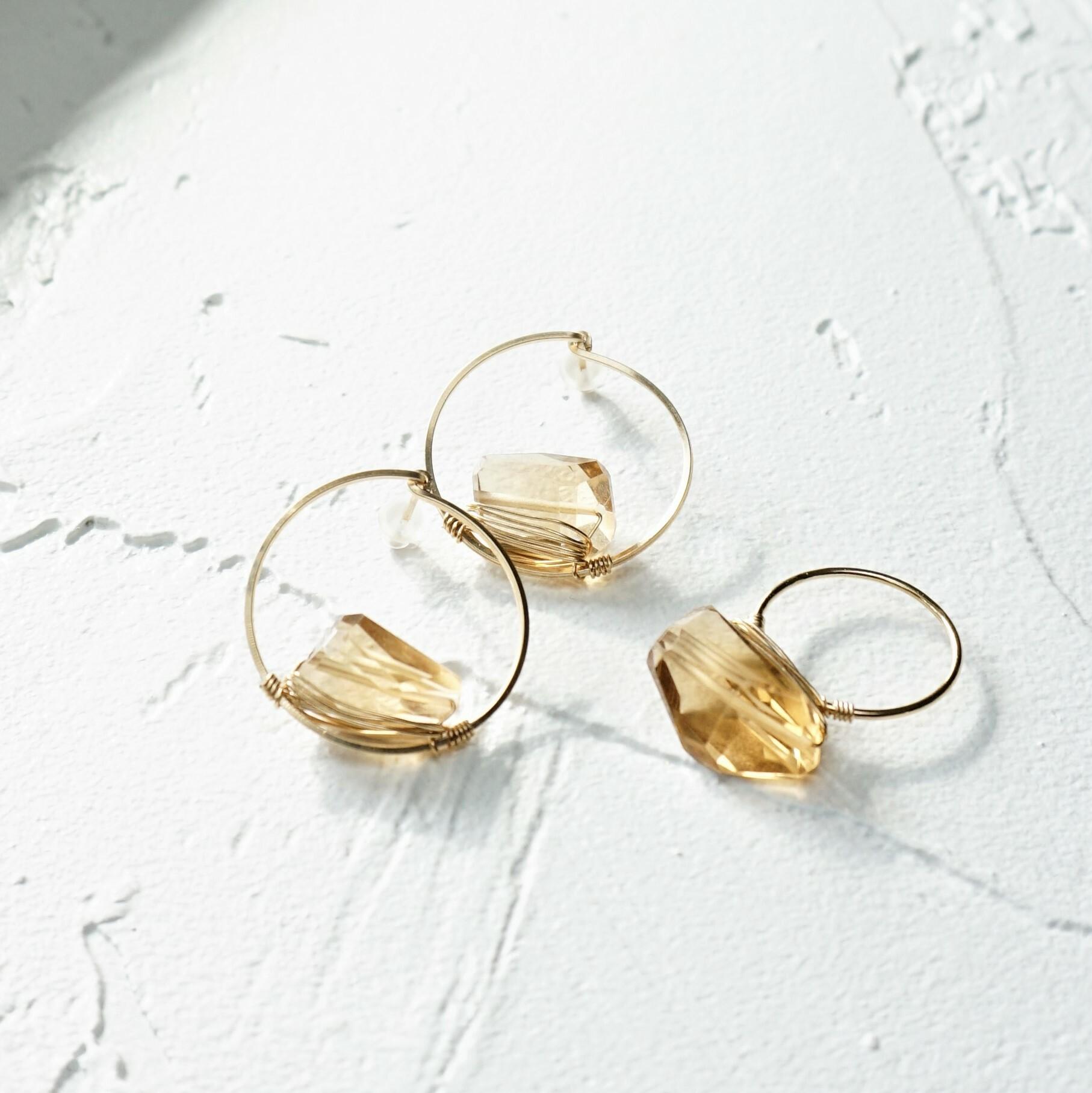 上白石萌音さん着用14kgf*宝石質 Champane Quartz wrapped ring + pierced earring