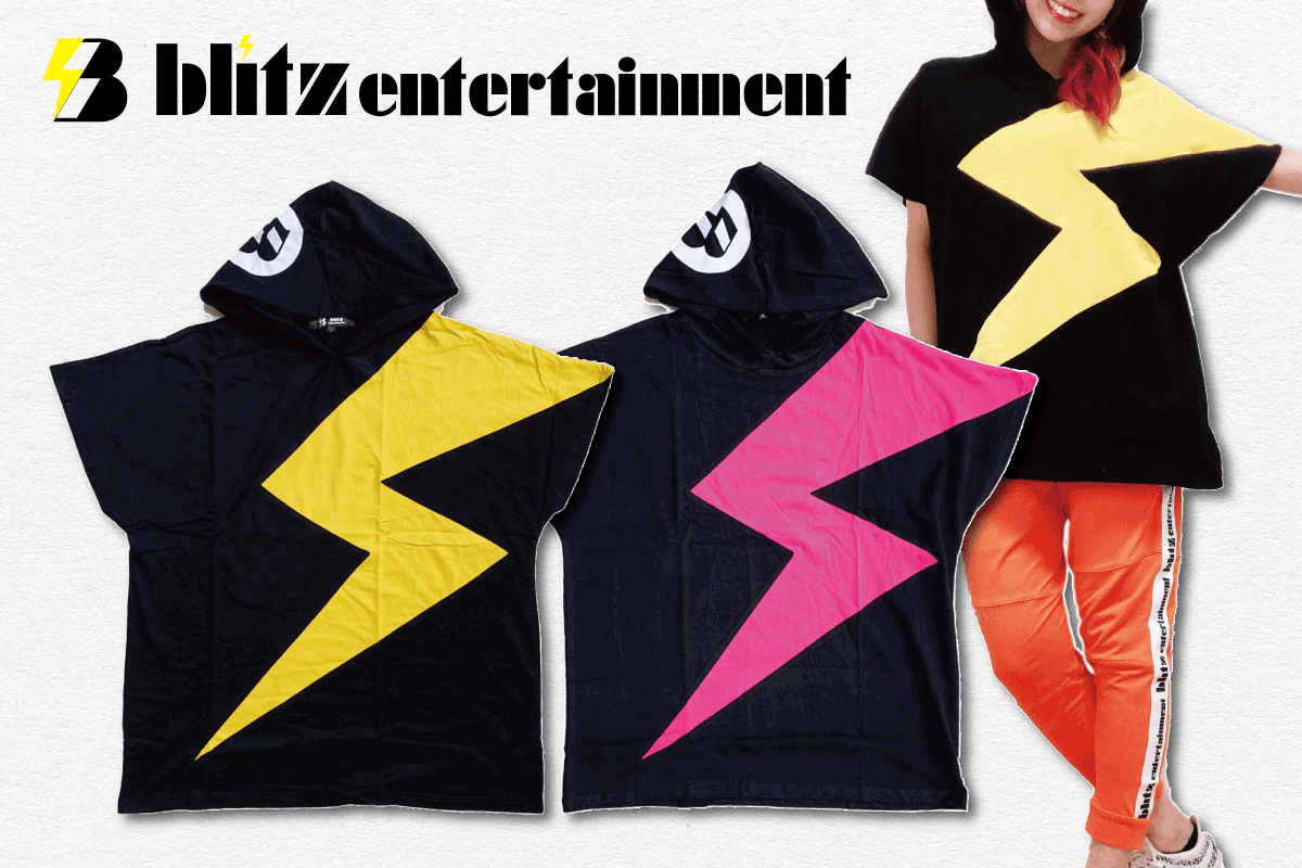 blitzドロップショルダーフードTシャツ (イエロー、ピンク)